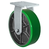 "10"" x 3"" Heavy Duty Rigid Caster - Green Polyurethane on Steel Wheel - 2,500 lbs Capacity Per Caster"