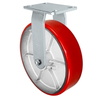 "12"" x 3"" Heavy Duty Rigid Caster - Red Polyurethane on Steel Wheel - 2,500 lbs Capacity Per Caster"