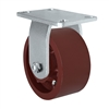 "6"" x 3"" Heavy Duty Rigid Caster - Red Ductile Steel Wheel - 2,500 lbs Capacity Per Caster"