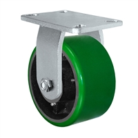 "6"" x 3"" Heavy Duty Rigid Caster - Green Polyurethane on Steel Wheel - 2,000 lbs Capacity Per Caster"