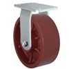 "8"" x 3"" Heavy Duty Swivel Caster - Red Ductile Steel Wheel - 2,500 lbs Capacity Per Caster"