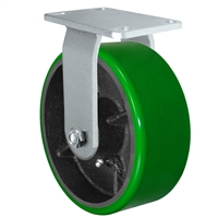 "8"" x 3"" Heavy Duty Rigid Caster - Green Polyurethane on Steel Wheel - 2,500 lbs Capacity Per Caster"