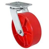 "10"" x 3"" Heavy Duty Swivel Caster - Red Ductile Steel Wheel - 2,500 lbs Capacity Per Caster"