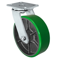 "10"" x 3"" Heavy Duty Swivel Caster - Green Polyurethane on Steel Wheel - 2,500 lbs Capacity Per Caster"
