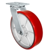 "12"" x 3"" Heavy Duty Swivel Caster - Red Polyurethane on Steel Wheel - 2,500 lbs Capacity Per Caster"