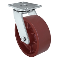 "6"" x 3"" Heavy Duty Swivel Caster - Red Ductile Steel Wheel - 2,000 lbs Capacity Per Caster"