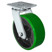 "8"" x 3"" Heavy Duty Swivel Caster - Green Polyurethane on Steel Wheel - 2,500 lbs Capacity Per Caster"
