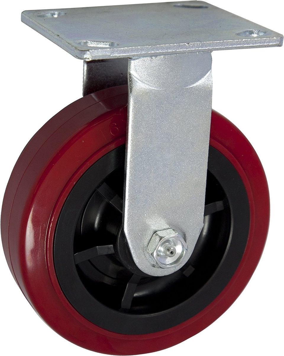 4 Pack Caster Wheels Swivel Plate Stem Break Casters On Red Polyurethane Wheels 1200 Lbs 3 inch 2 Swivel and 2 Fixed