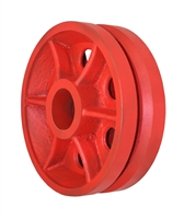"8"" X 2-1/2"" Red Ductile V-Groove Wheel - 4,000 lbs Capacity"
