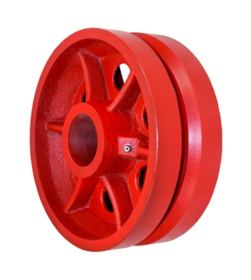 "8"" X 3"" Red Ductile V-Groove Wheel - 6,000 lbs Capacity"