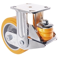 "6"" x 2"" Spring Rigid Loaded Caster - HD Orange Polyurethane on Aluminum Wheel - 1,500 lbs Capacity"