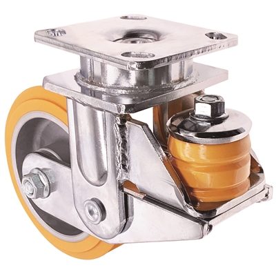 "6"" x 2"" Spring Loaded Caster - HD Orange Polyurethane on Aluminum Wheel - 1,500 lbs Capacity"