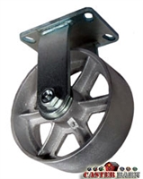 "8"" x 3"" Kingpinless Rigid Caster - Gray Iron - 2,500 Lbs Capacity"