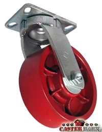 "8"" x 3"" Kingpinless Swivel Caster - Ductile Steel Wheel - 6,000 Lbs Capacity"