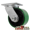 "6"" x 3"" Drop Forged Swivel Caster - Poly Wheel - 2,000 Lbs Capacity"