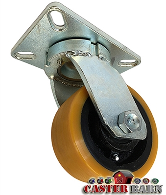 "10"" x 3"" Kingpinless Swivel Caster - Poly Wheel - 6,000 Lbs Capacity"