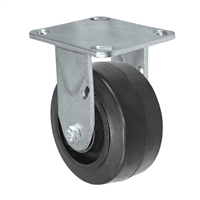 "4"" x 2"" Inch Rigid Caster - Mold-On Rubber Wheel - 400 Lbs Capacity"