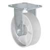 "6"" x 2"" Inch Rigid Caster - Semi-Steel Cast Iron Wheel - 1,200 Lbs Capacity,"