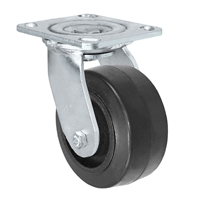 "4"" x 2"" Inch Swivel Caster - Mold-On Rubber Wheel - 400 Lbs Capacity"