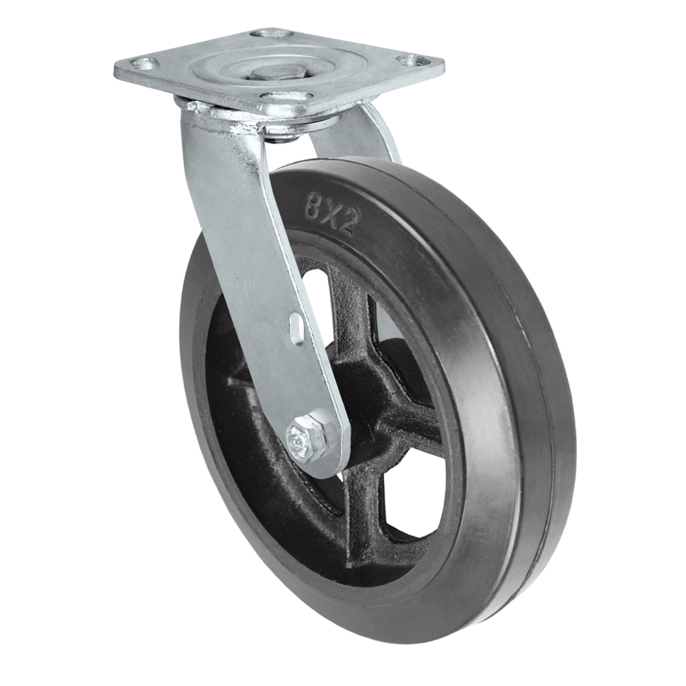 "Durable Swivel Caster 8/"" x 2/"" Cast Iron Wheel 4/"" x 4-1//2/"" Plate w// Brake"