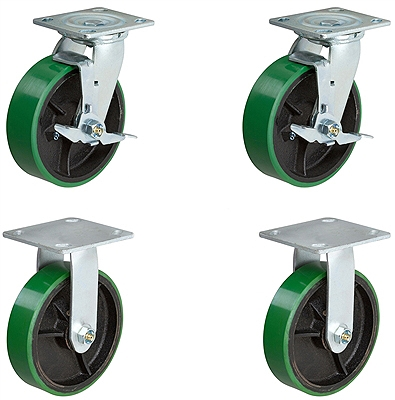 "8"" X 2"" Tool Box Kit - Green Polyurethane Wheel - 1,250 Lbs Capacity"