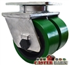"6"" x 3"" Dual Wheel - Green Poly on Cast iron Swivel Caster - 6,000 lbs Capacity"