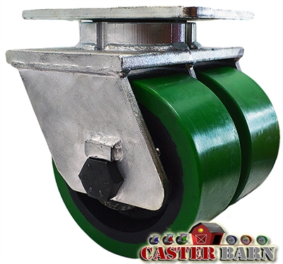 "12"" x 3"" Dual Wheel - Green Poly on Cast iron Swivel Caster - 7,000 lbs Capacity"