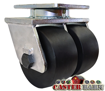 "10"" x 3"" Dual Wheel - Super High Impact Polymer Swivel Caster - 7,000 lbs Capacity"