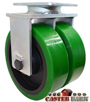 "6"" x 3"" Dual Wheel - Green Poly on Cast iron Rigid Caster - 6,000 lbs Capacity"