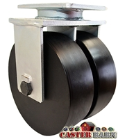 "8"" x 3"" Dual Wheel - Super High Impact Polymer Rigid Caster - 7,000 lbs Capacity"