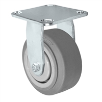 "4"" x 2"" Stainless Rigid Caster - Thermo Plastic Rubber Wheel - 300 lbs Cap"