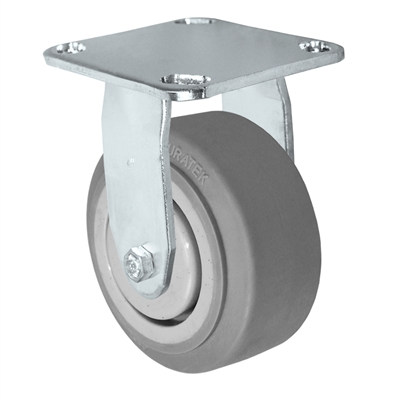 "5"" x 2"" Stainless Rigid Caster - Thermo Plastic Rubber Wheel - 350 lbs Cap"
