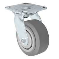 "4"" x 2"" Stainless Swivel Caster - Thermo Plastic Rubber Wheel - 300 lbs Cap"