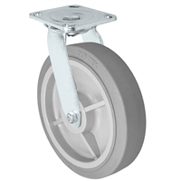 "8"" x 2"" Stainless Swivel Caster - Thermo Plastic Rubber Wheel - 450 lbs Cap"