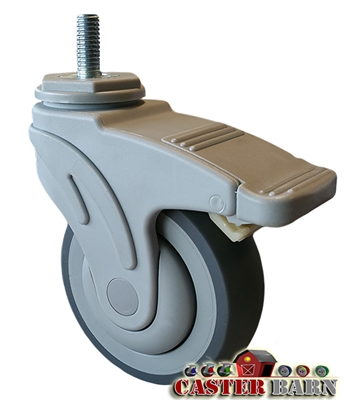 "4"" Total Locking Nylon Composite Medical Caster - 275 LBS Capacity - Sealed Precision Raceway"
