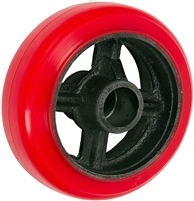 "4"" x 2"" Crown Tread Red Polyurethane on Silver Cast Iron Core - 800 lbs Cap"