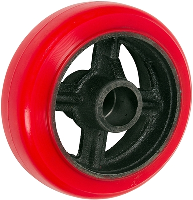 "6"" x 2"" Crown Tread Red Polyurethane on Silver Cast Iron Core - 1,000 lbs Cap"