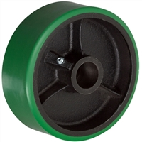 "4"" x 2"" Green Polyurethane on Cast Iron Core - 800 lbs Cap"