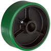 "6"" x 2"" Green Polyurethane on Cast Iron Core - 1,200 lbs Cap"