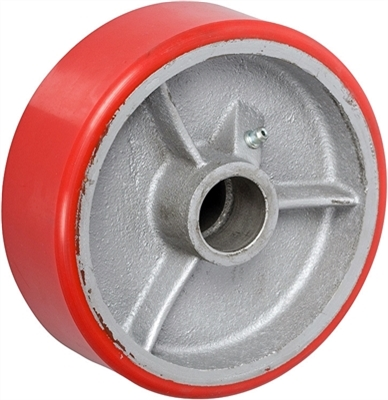 "8"" x 3"" Red Polyurethane on Silver Cast Iron Core - 2,500 lbs Cap"