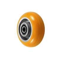 "4"" x 2"" Orange Crown Tread Polyurethane on Aluminum Core - 900 lbs Cap"