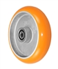 "8"" x 2"" Orange Crown Tread Polyurethane on Aluminum Core - 1,200 lbs Cap"