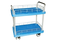 Two Shelf Plastic Utility Cart With Wire Rails, 24″X36″