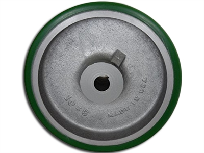 "10"" x 3"" Polyurethane Tread Keyed Drive Wheel with a ​3-1/4"" Hub Length and 30mm Bore Size - CasterHQ Brand - Highest Quality in the Industry - MADE IN USA - Tread Re-bonding available as well"