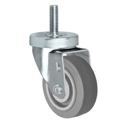 "4"" X 1-1/4"" Thermo Plastic Rubber Wheel, Threaded Stem Caster - 250 Lbs Capacity"
