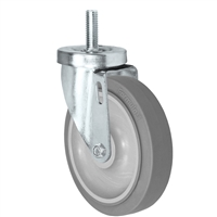 "5"" X 1-1/4"" Thermo Plastic Rubber Wheel, Threaded Stem Caster - 275 Lbs Capacity"