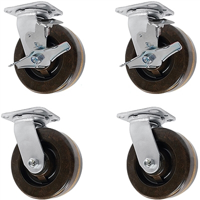 5-Inch-High-Temp-Caster-Set-Brakes