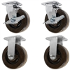 "6"" x 2"" High Temp 2 Swivel Casters with Brakes & 2 Rigid Casters 