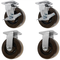"4"" x 2"" High Temp 2 Swivel Casters with Brakes & 2 Rigid Casters 