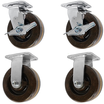 "5"" x 2"" High Temp 2 Swivel Casters with Brakes & 2 Rigid Casters 